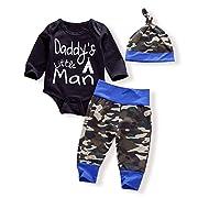 3PCS Newborn Baby Boys Cute Letter Print Romper+Camouflage Pants+Hat Outfits Set(0-6 Months)