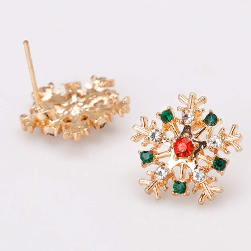 Babasee Christmas Cute Snowflake Pierced Stud Earrings Rhinestone For Women Girl Gift