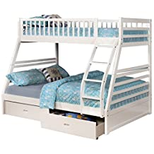 White Twin over Full Bunk Bed with Storage Drawers and Solid Wood