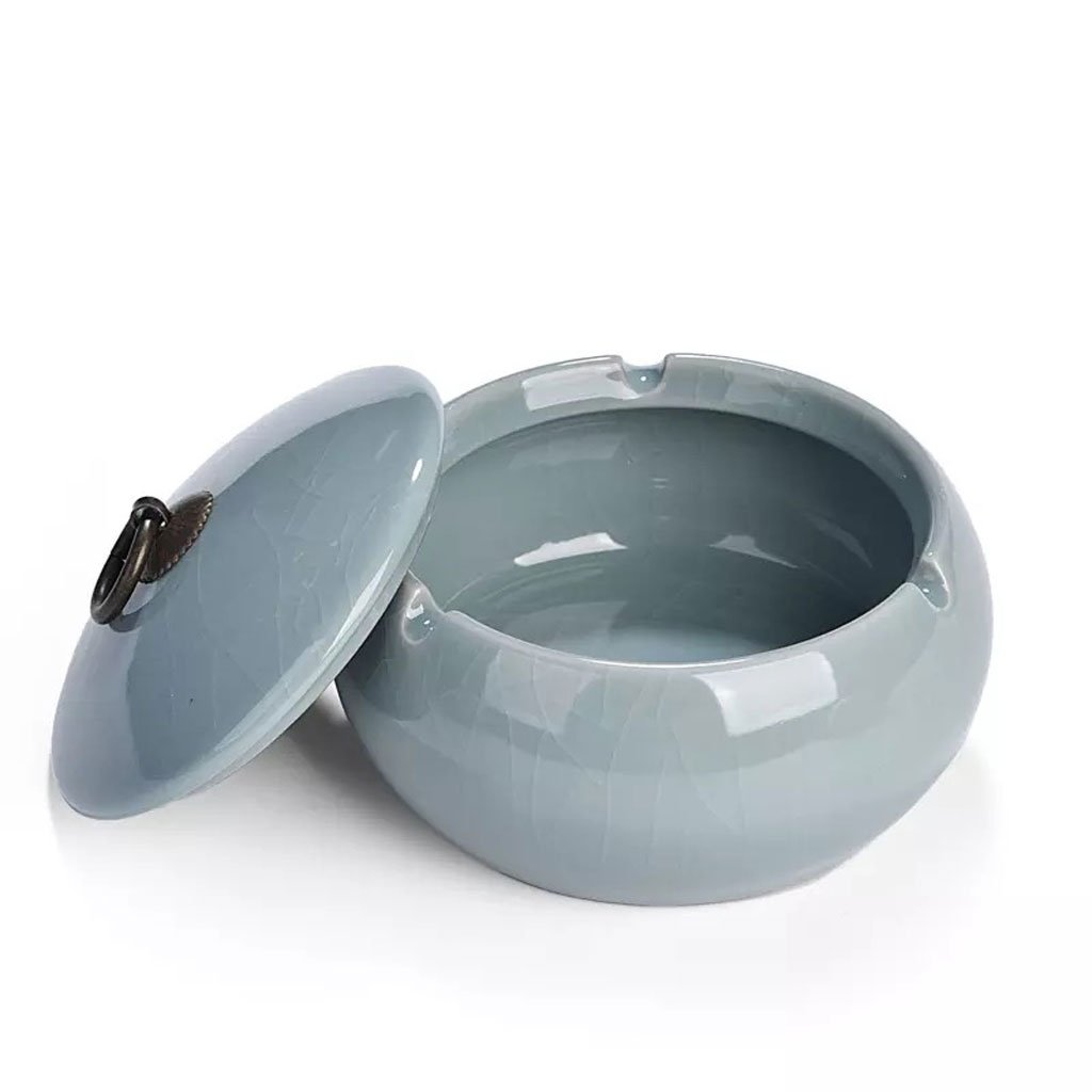 Ceramic Ashtray With Cover Chinese Classic Ceramic Home Furnishing For Hotel Lobby Office (Color : E)