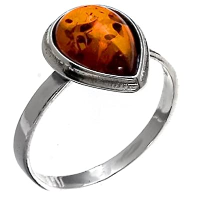 Amber Sterling Silver Drop Ring fDbbZ