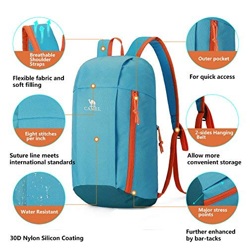 Camel 10L Lightweight Travel Backpack Outdoor Mountaineering Hiking Daypack with Durable & Waterproof (Sky Blue)