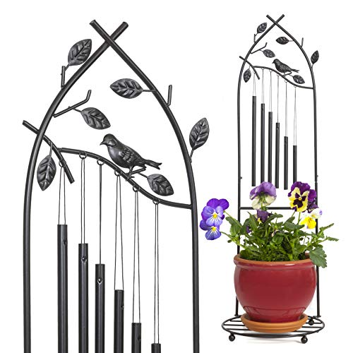 Iron Wind Chime - 11 Inches Cast Iron Wind Chime & Plant Holder - Perfect Home Decoration & Original Gift Idea - Easy Assembly & Free Standing Wind Chime Home Decor (Chime Wind Electric)
