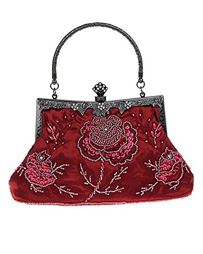 Whoinshop Women's Seed Beaded Rose Vintage Evening Cluth Party Purse Bag Wedding Handbag Wine