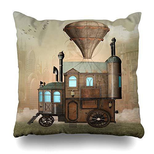 Ahawoso Throw Pillow Covers Air Balloon Steam Punk Surreal House Haze Vintage Hot Bird Car Carriage Design Clouds Zippered Pillowcase Square Size 20 x 20 Inches Home Decor Cushion Case