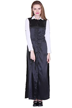 0b8d74c65fea03 Black White Satin Shirt Dress ZSTRDRESS420-XS: Amazon.in: Clothing &  Accessories