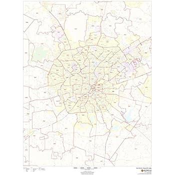 Texas ZIP Codes Bexar County 36 x 48 Laminated Wall Map ...