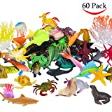small plastic fish - Ocean Sea Animals Figures, 60 Pack Mini Plastic Deep Underwater Life Creatures Set, STEM Educational Shower Bath Toys Gift for Baby Toddler Cupcake Toppers Party Supplies with Turtle Octopus Shark