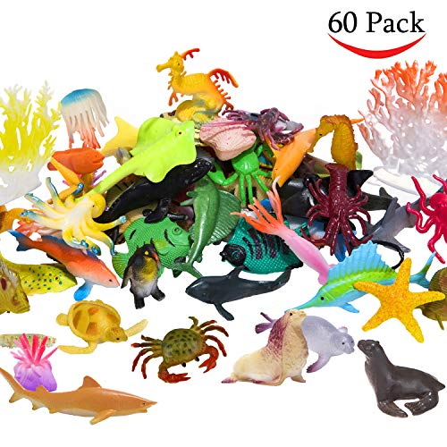 Ocean Sea Animals Figures, 60 Pack Mini Plastic Deep Underwater Life Creatures Set, STEM Educational Shower Bath Toys Gift for Baby Toddler Cupcake Toppers Party Supplies with Turtle Octopus Shark