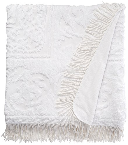 Beatrice Home Fashions Medallion Chenille Bedspread, Full, White