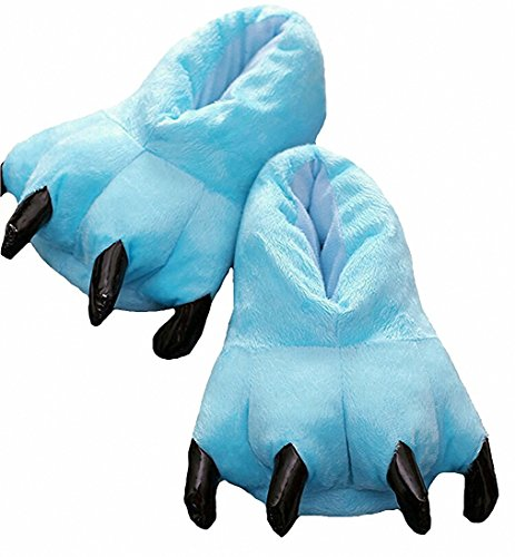 (Akanbou Cosplay Monster Paw Plush Slippers Monster Feet Claw Slippers Home Shoes (Women 4.5-8.5 yards, Sky)