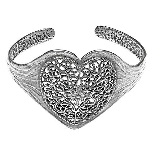 (Paz Creations .925 Sterling Silver Lace Heart Cuff Bracelet, Made in Israel (6 3/4