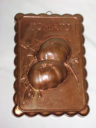Coppertone & Tin Scalloped Rectangle Tomato Pattern 10x7x1 Inch Mold Wall Plaque