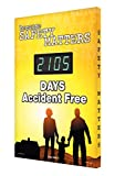 SCK105 Aluminum Digi-Day Electronic Safety Scoreboard,''BECAUSE SAFETY MATTERS - #### DAYS ACCIDENT FREE''