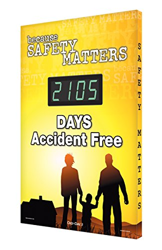 SCK105 Aluminum Digi-Day Electronic Safety Scoreboard,''BECAUSE SAFETY MATTERS - #### DAYS ACCIDENT FREE'' by Accuform