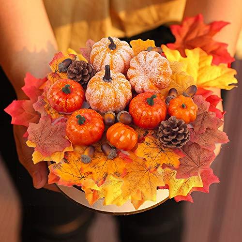 HANSGO Fake Pumpkin Decor, Mini Pumpkins Artificial Foam Pumpkins Small Pumpkins for Decorating, 50PCS Halloween Thanksgiving Decorations