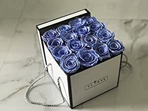 The Luxe Flower Box 16 Fresh Cut Preserved Roses ( Marine Blue )