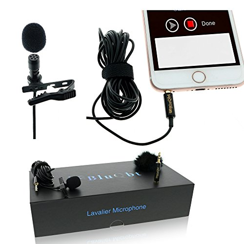 "Lavalier Lapel Podcast Iphone Microphone:BluQbt Professional High Audio Quality Clip On Microphone Lav Mic Great for Youtube Camera Vlogging. 118"" cable and carry case, compatible with Apple by BluQbt"
