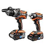 Ridgid 18V OCTANE Lithium-Ion Cordless Brushless Combo Kit with Hammer Drill, Impact Driver, (2) OCTANE Batteries, Charger