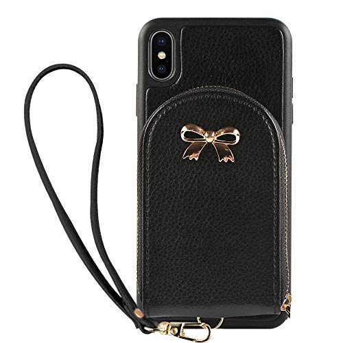 iPhone Xs Wallet Case, iPhone X Card Holder Case, ZVEdeng Protective iPhone Xs Credit Card Holder Case Leather Zipper Wallet with Wrist Strap Handbag Case Cover for Apple iPhone Xs/X 5.8'' Black ()