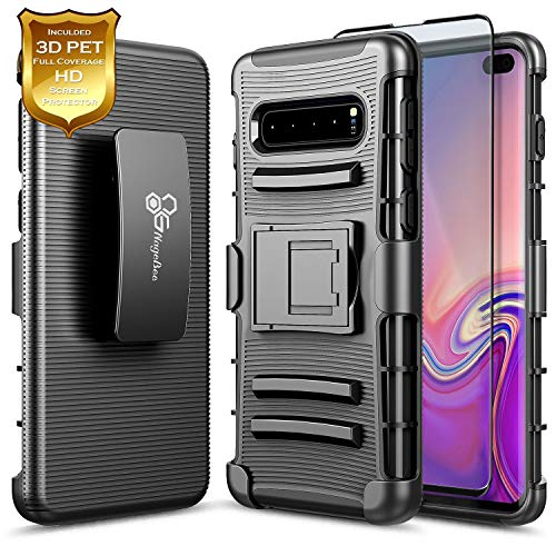 Galaxy S10+ Plus Case with Full Coverage Screen Protector 3D PET, NageBee Belt Clip Holster Kickstand Heavy Duty Shockproof Combo Rugged Armor Durable Case for Samsung Galaxy S10+/S10 Plus -Black ()