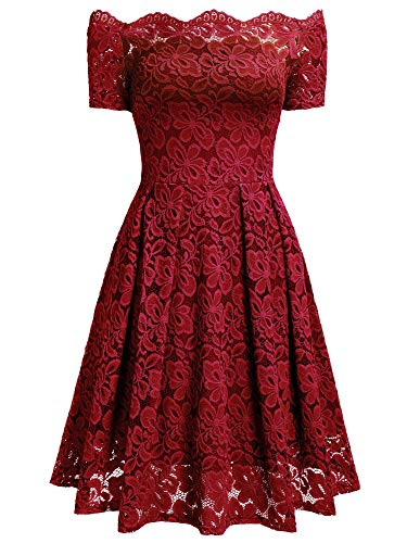 MISSMAY Women's Vintage Floral Lace Short Sleeve Boat Neck Cocktail Party Swing Dress, Large, Red
