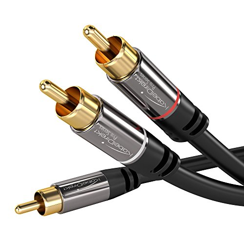 Two 10' Woofers (KabelDirekt RCA Stereo Cable / Cord (10 ft / feet long, 1 RCA Male to 2 RCA Male Audio Cable, Digital & Analogue, Double Shielded, PRO Series) supports (Subwoofers, Home Theater, Hi-Fi))