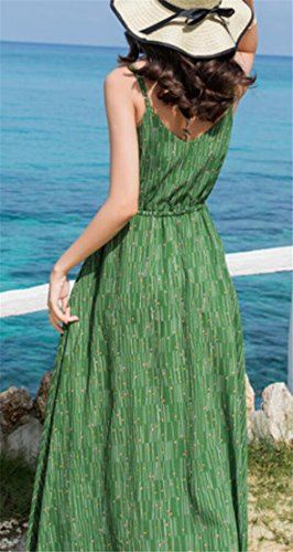 Women Sleeveless Maxi Striped Jaycargogo Sexy Spaghetti Beach Green Dresses Strap qvwnSCnd