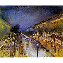 16X20 inch Pissarro Camille Boulevard Montmartre at Night Sun Art by globalartdepot