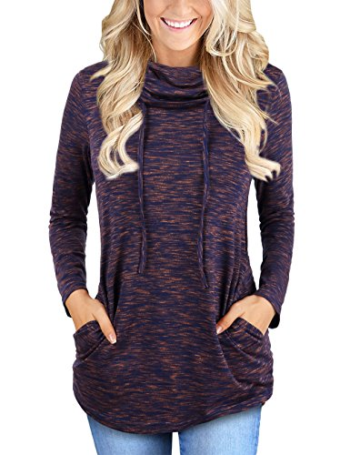 MOOSUNGEEK Tunic Sweatshirts, Women Funnel Neck Fold Basic Vintage Pullover Shirt Tops Purple (Funnel Neck Shirt)