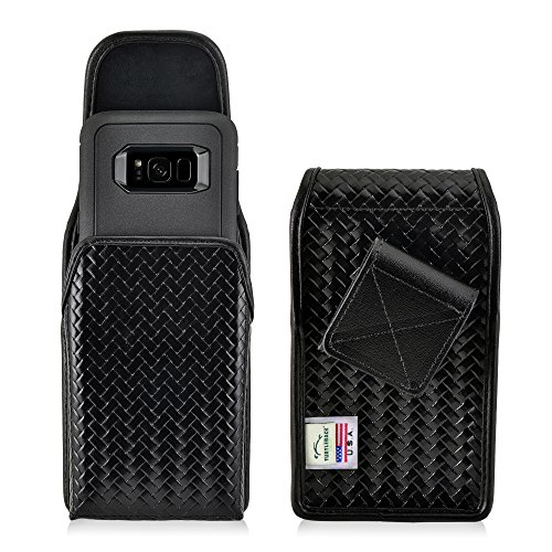 Turtleback Belt Case Holster Made for Samsung Galaxy S8 w/Otterbox Defender Case Black Basketweave Leather Police Duty Belt Pouch with Heavy Duty Rotating Belt Clip, Horizontal (Magnetic Closure)