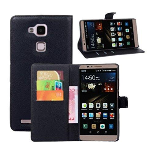 Ultra Slim Flip Bracket Cover Case for Huawei Ascend Mate 7 - Premium Soft PU Leather [ Wallet ] Case Cover for Huawei Ascend Mate 7 (Wallet - Black)