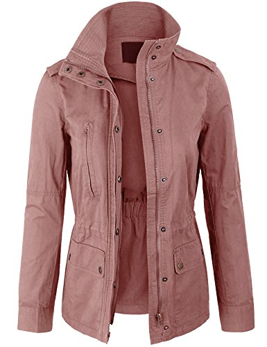 KOGMO Womens Zip Up Military Anorak Safari Jacket Coat -M-Mauve