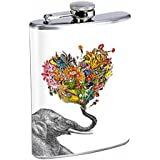Elephant Art Flowers Flask S2 Stainless Steel 8oz Hip Silver Alcohol Whiskey Drinking Brandy Rum