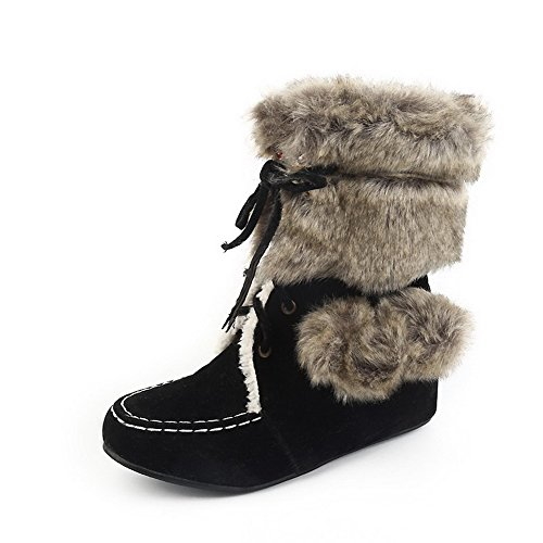 Top Solid Women's Suede Heels Boots Imitated Black up WeiPoot Low Kitten Lace UwXqIAaax