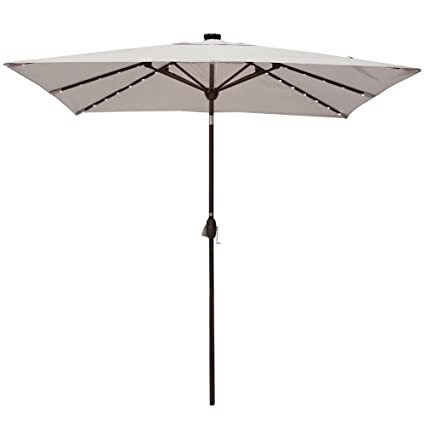 Rectangular Patio Umbrella With Solar Lights Magnificent Amazon Solar Powered Rectangular Patio Umbrella With 60 LED