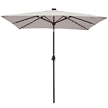 Amazon Com Solar Powered Rectangular Patio Umbrella With 68 Led