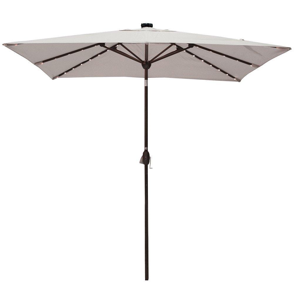 Solar Powered Rectangular Patio Umbrella with 68 LED Lights Market Outdoor Umbrella with Tilt&Crank&Umbrella Cover, 9 by 7 Feet, Beige