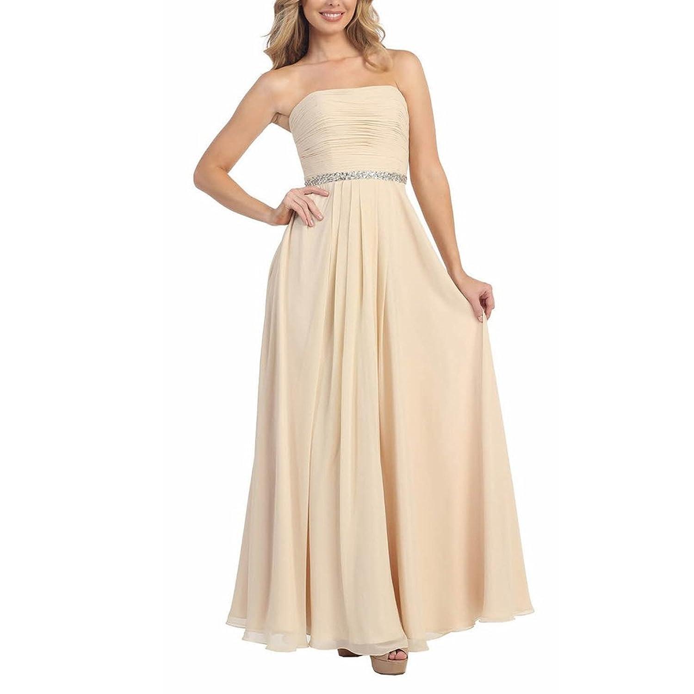 ABwedding Women Coral Chiffon Pleats Crystal Long Bridesmaid Dresses