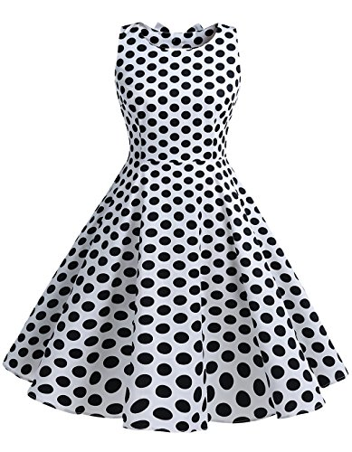 Gatsby Costume Hire (BeryLove Women's Vintage 50s Polka Dot Bowknot Retro Swing Cocktail Party Dress WhiteBlackDot Size M)
