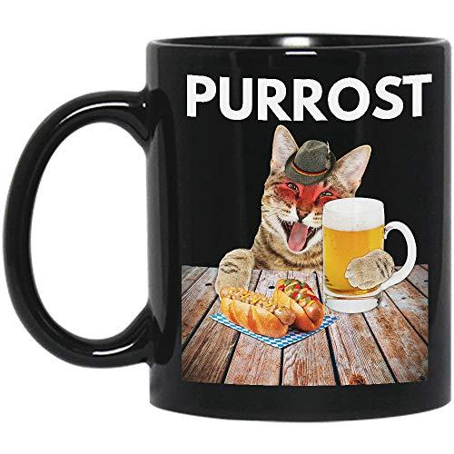 Purrost Prost Oktoberfest Beer German Cat Munich 2018 Drinker Drinking Lover Men Women Gifts Blakc Ceramic Coffee Tea Mug Cup 11oz