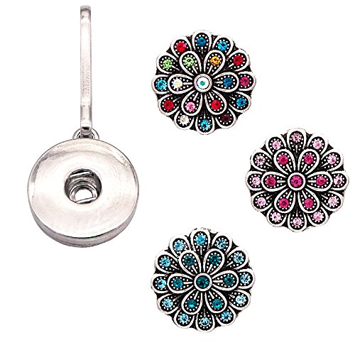 Ascrafter Aolly Flower Zipper Pulls Charm - Zipper Replacement with 3 Rhinestone Snap Buttons for Bag, Purses, Backpack, Key Chain & More Accessories (Flower Zipper Pull)