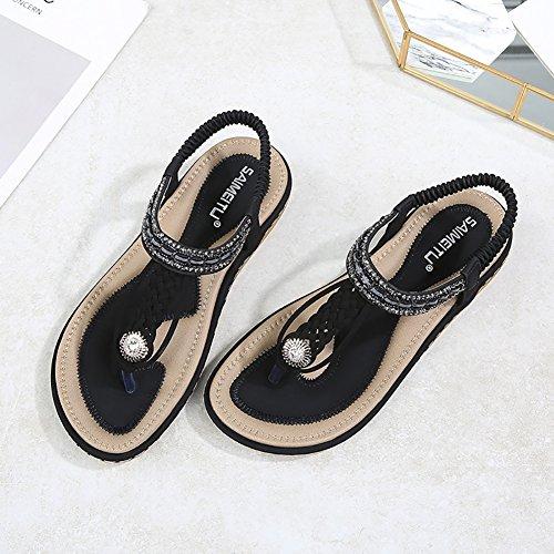 Meeshine Womens Summer Beach Flat Sandals Rhinestone Shiny Beads Slip On Flip Flops Thong Shoes(11 B(M) US,Black 04) by Meeshine (Image #1)