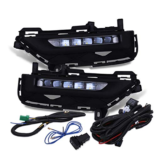 Fit 2016-2017 Honda Accord (2 Door Coupe Models Only) Front Bumper Fog Lights Clear Lens Includes LED Wiring Harness and Switch