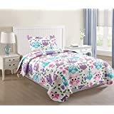 MarCielo 2 Piece Kids Bedspread Quilts Set Throw Blanket for Teens Boys Bed Printed Bedding Coverlet, Twin Size, Purple Hoot (Twin)