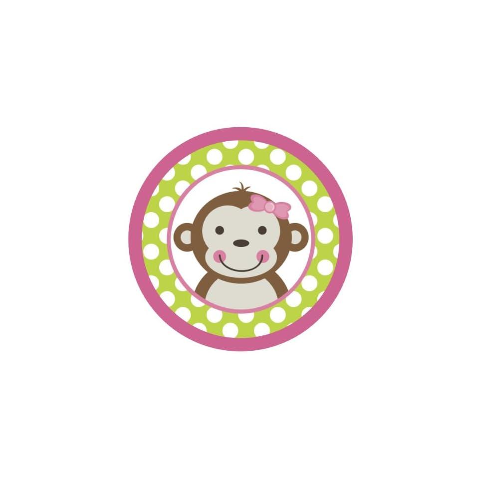 Mod Monkey Girl {Green Polka Dots} Edible Cake Topper Decoration