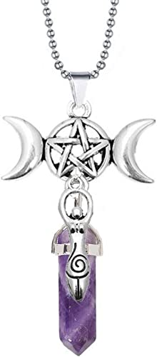 Gemstone Charm Moon Cycle Charm  Celestial Jewelry Amethyst Charm Moon Charm Copper and Silver Moon Necklace Luna Jewelry  