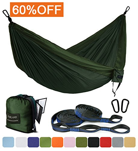 ock - Portable Anti-fade Nylon Double Hammock with 2 Piece 16 Loop Straps by FARLAND - Parachute Lightweight Hammock for Hiking Backpacking (Pink Silk Parachute)