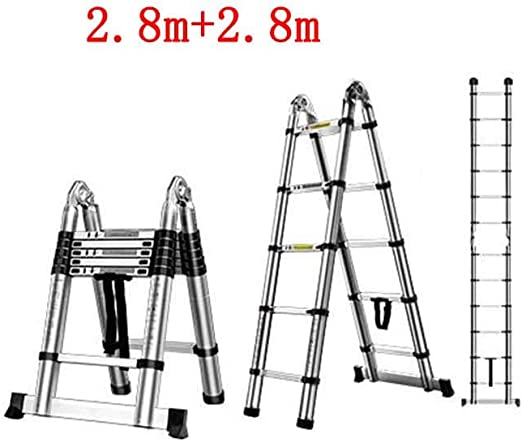 FLYSXP Escalera telescópica hogar multifunción Plegado ingeniería portátil Ascendente descendente en Espiga Escalera Doble Recta aleación de Aluminio Grueso Taburete Plegable (Size : 2.8m+2.8m): Amazon.es: Hogar
