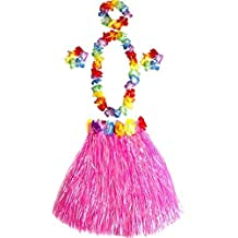 Girl's Elastic Hawaiian Hula Dancer Grass Skirt with Flower Costume Set -Pink